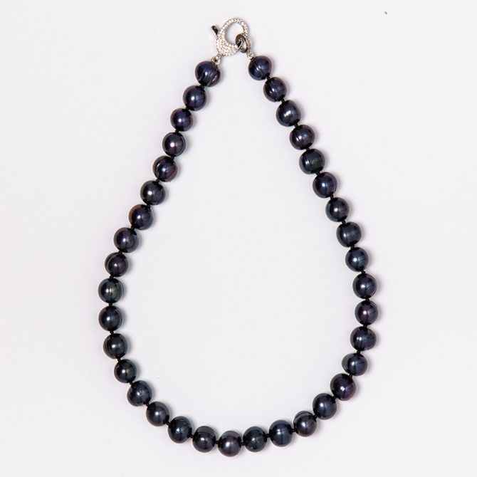 N-PS-14 10MM RINGED BLUE PEARL NECKLACE (40CM)
