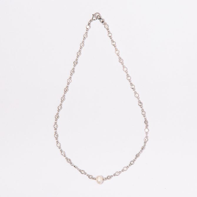N-PS-47 7mm White Semi Round Pearl Chain Necklace (40cm)
