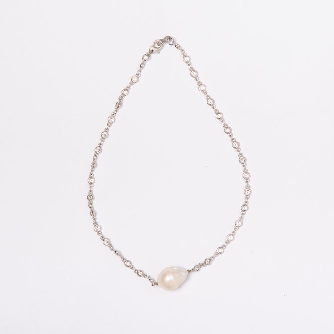 N-PS-48 15-18mm White Baroque Pearl Chain Necklace (40cm)