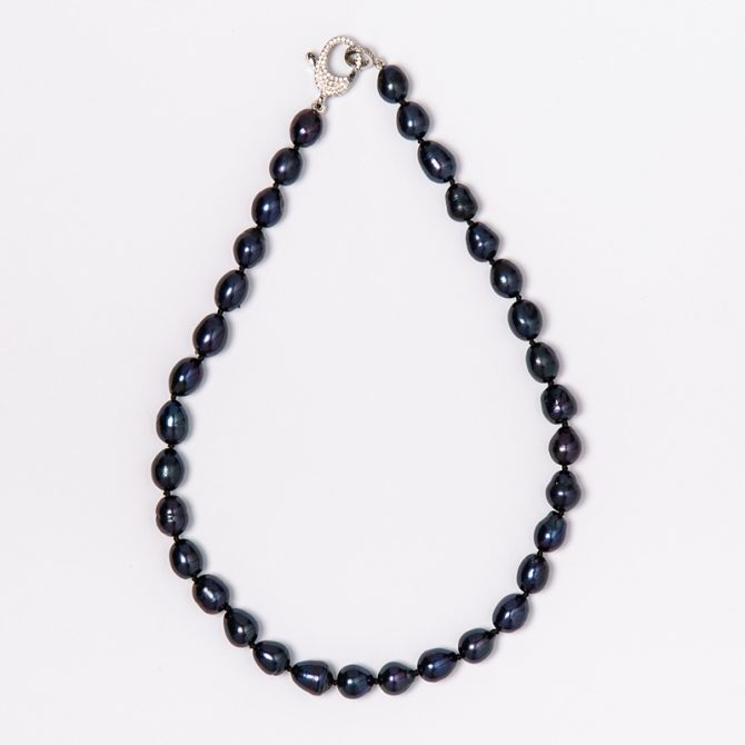 N-PS-9 10MM OVAL BLUE PEARL NECKLACE (40CM)