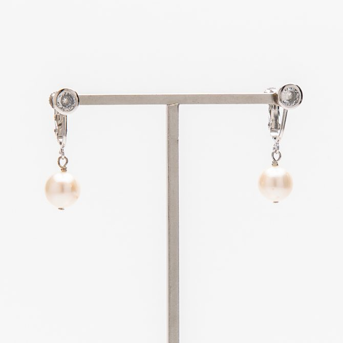 E-PS-37 10mm White Round Pearl Clip Earrings