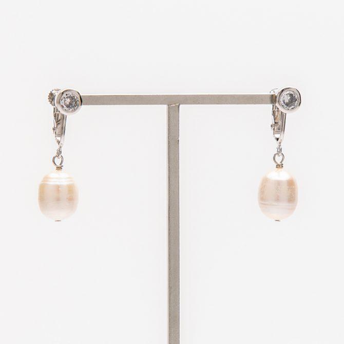 E-PS-42 12mm White Oval Pearl Clip Earrings