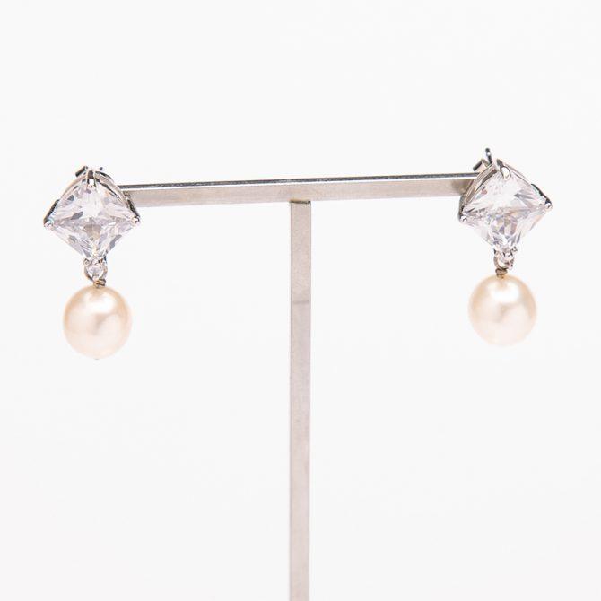 E-PS-50 Clear Stone Stud Pearl Earrings