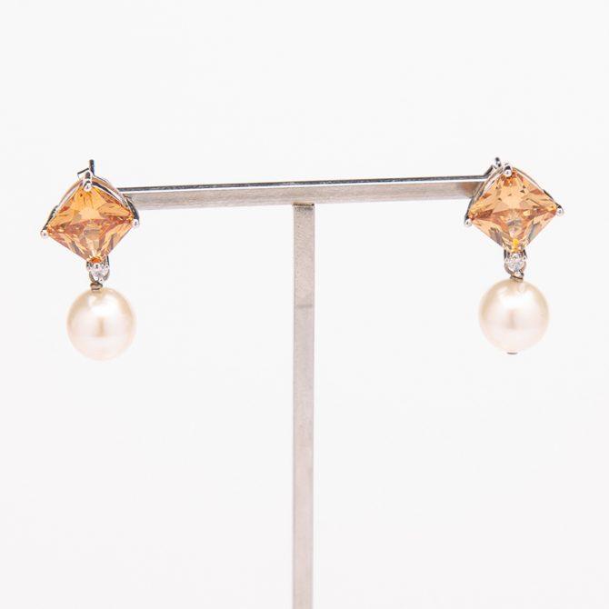 E-PS-52 Stone Stud Pearl Earrings – Beige