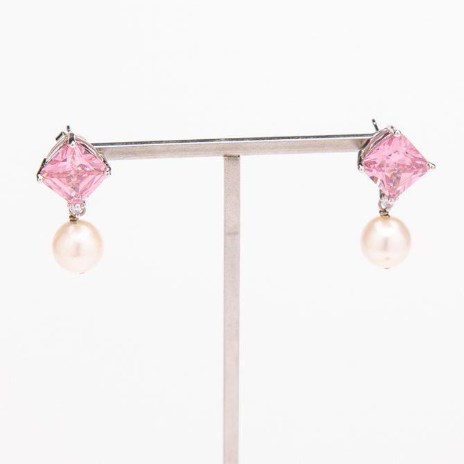 E-PS-55 Stone Stud Pearl Earrings – Pink