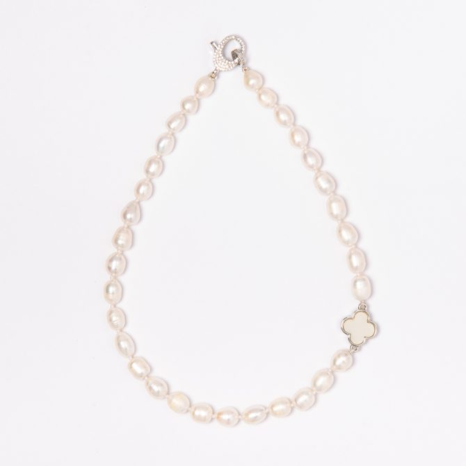 N-PS-65 10mm White Oval Pearl Clove Necklace (40cm)