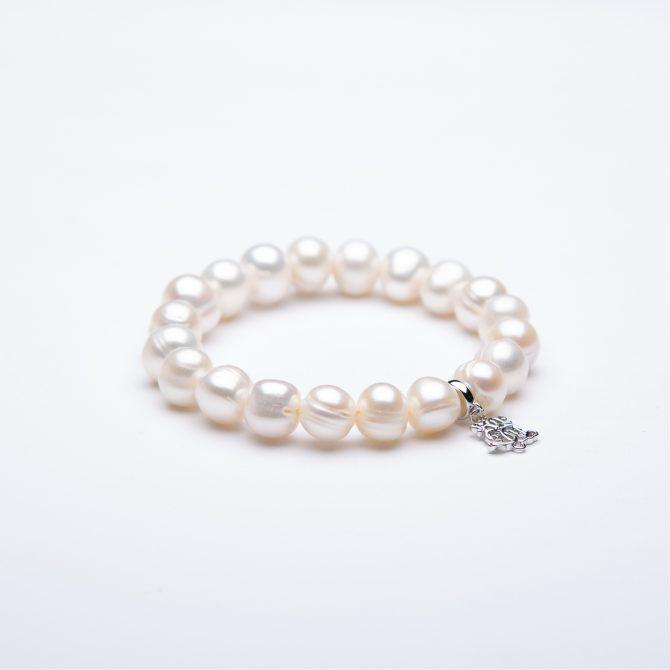 B-PS-68 10mm White Ringed Pearl Bowerhaus Charm Bracelet